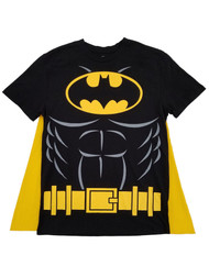 DC Comics Mens Black & Yellow Batman Caped Tee Costume T-Shirt