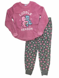 Care Bears Womens Pink Fleece Cuddle Season Pajamas Love A Lot Sleep Set