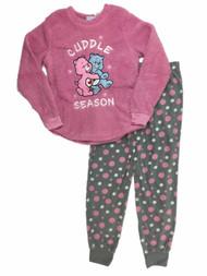 Care Bears Womens Pink Fleece Cuddle Season Pajamas Love A Lot Sleep Set