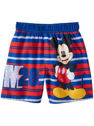 Disney Toddler Boys Red Striped Mickey Mouse Swim Trunks  Board Shorts