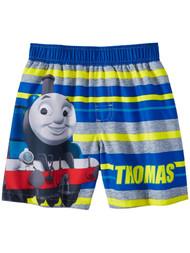 Toddler Boys Blue & Yellow Thomas & Friends Swim Trunks Train Board Shorts