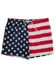 George Big Mens US Flag Patriotic E-Board Swim Trunks 3XL