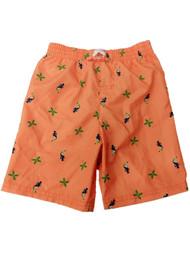 Toddler Boys Orange Toucan Bird Swim Trunks Palm Tree Board Shorts