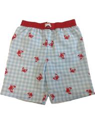 Toddler Boys Blue & White Checkered Swim Trunks Crab Board Shorts