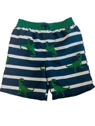 Toddler Boys Blue Striped T-Rex Dino Swim Trunks Dinosaur Board Shorts