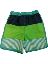 Toddler Boys Blue & Green Swim Trunks Striped Board Shorts 4T