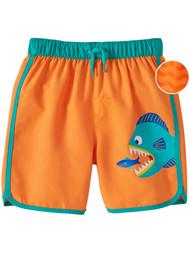 Toddler Boys Orange Piranha Swim Trunks Swimming Fish Board Shorts
