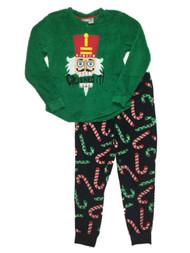 Womens Green Fleece Nutcracker Holiday Pajamas Christmas Candy Sleep Set