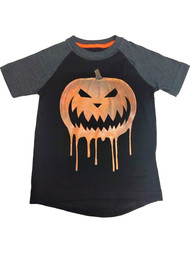 Boys Black Bleeding Jack O' Lantern Halloween T-Shirt Glows Tee Shirt