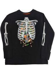 Boys Black Stomach Full of Candy T-Shirt Skeleton Halloween Tee Shirt Glows