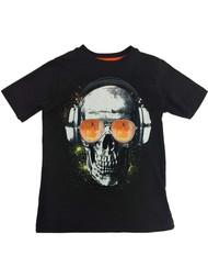 Boys Black Rockin out Skeleton T-Shirt Skull Halloween Tee Shirt Glows