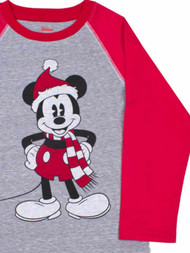 Disney Infant & Toddler Boys Gray & Red Mickey Mouse Christmas Holiday Shirt