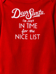 Infant Girls Red I'm Just In Time For The Nice List Christmas Bodysuit