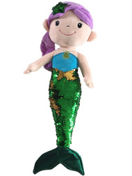 Linzy Toys Green & Gold 19 inch Mermaid With 2-Way Sequins Plush Stuffed Doll