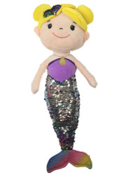 Linzy Toys Rainbow Color 19 inch Mermaid With 2-Way Sequins Plush Stuffed Doll