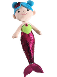 Linzy Toys Pink & Silver 19 inch Mermaid With 2-Way Sequins Plush Stuffed Doll
