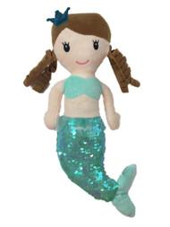 Linzy Toys 14 inch Victoria Mermaid With Aqua Blue Sequins Plush Doll