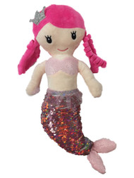 Linzy Toys Pink & Silver 14 inch Victoria Mermaid With 2-Way Sequins Plush Doll