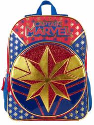 """Captain Marvel 16"""" Glittery Backpack With 2 Mesh Side Pockets, Avengers Bookbag"""