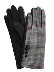 Womens Black & Red Plaid Stretch Fit Texting & Tech Touchscreen Gloves