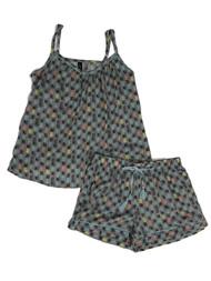 Ambrielle Womens Lightweight Gray Pineapple Pajamas Tank Top & Shorts Set