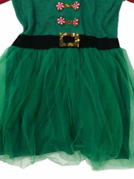Womens Green Tulle Sequin Elf Christmas Holiday Sweater Dress