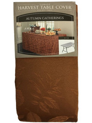 Autumn Gatherings Bronze Rust Damask Fabric Banquet Tablecloth, 6' Folding Table