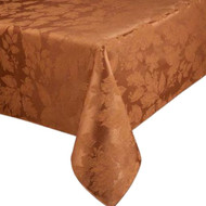 Autumn Gatherings Bronze Rust Damask Fabric Tablecloth Table Cloth 60x84 Ob