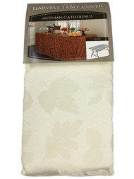 Autumn Gatherings Ivory Cream Damask Fabric Banquet Tablecloth, 6' Folding Table