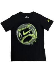 Nike Boys Black Baseball Athletic T-Shirt Yellow Swoosh Tee Shirt X-Small (4)