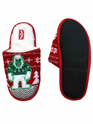 Mens Red Knit Sherpa Yeti Christmas Holiday Slippers Abominable Snow Monster