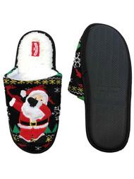 Mens Black Knit Sherpa Dabbing Santa Claus Christmas Holiday Slippers Scuffs