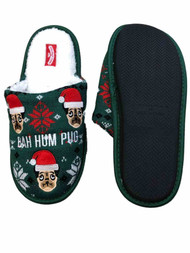 Mens Green Knit & Sherpa Baw Hum Pug Christmas Holiday Slippers Scuffs