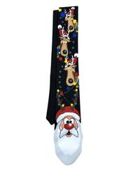 Men's Black Santa Claus & Reindeer Christmas Neck Tie Holiday Necktie