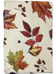 """Autumn Gatherings Harvest Leaves Fabric Tablecloth, Foliage Table Cloth 90"""" Rnd"""