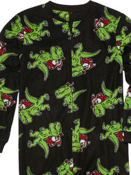 Boys Black Fleece Santa Riding T-Rex Christmas Sleeper Dinosaur Pajamas