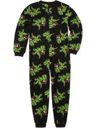 Boys Black Fleece Santa Riding T-Rex Christmas Sleeper Dinosaur Pajamas