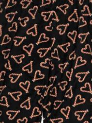 Womens Black Fleece Candycane Hearts Holiday Pajama Bottoms Sleep Pants