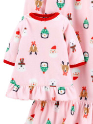 Carters Toddler Girls Pink & Red Christmas Print Fleece Nightgown & Doll Gown