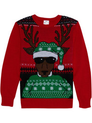 Boys Red Sunglass Reindeer Chill Christmas Holiday Knit Sweater X-Small