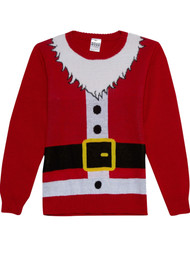 Boys Red Santa Claus Suit Christmas Holiday Knit Sweater