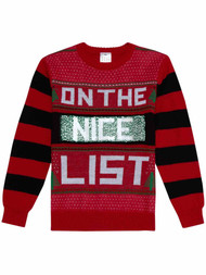 Boys Red On The Naughty List Flip Sequin Christmas Holiday Knit Sweater