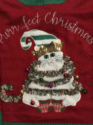 Womens Red Prrfect Christmas Sequin Kitty Cat Elf Holiday Sweater