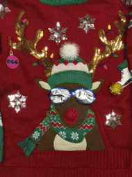 Womens Red Sequin Snowflake Reindeer Pom Holiday Christmas Sweater
