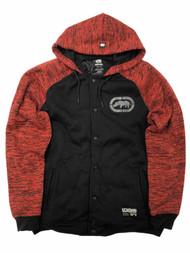 Ecko Mens Black & Red Hoodie Snap Front Jacket