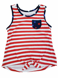 Girls Red White Blue Star Stripe Patriotic Tank Top American Flag T-Shirt