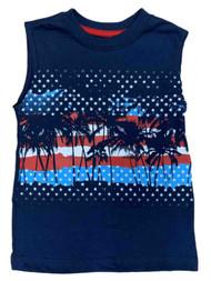 Boys Navy Blue American Flag & Palm Trees Muscle Tank Top T-Shirt
