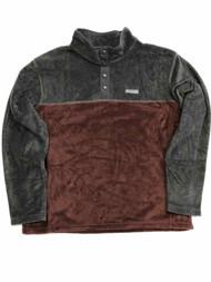 Columbia Mens Burgundy & Gray Polar Fleece Jacket