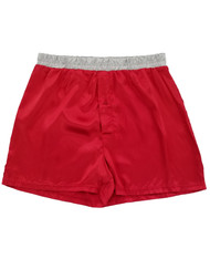 Mens Red Lamé Christmas Present Satin Novelty Underwear Boxer Shorts