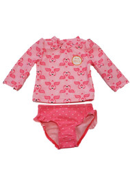Carters Infant Girls Pink Flamingo Heart Hearts 2 Pc Rash Guard Swimming Suit